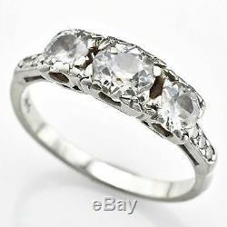 Antique Or Blanc 14k 1,60 Tcw Old Euro Diamond Bague 3.0 Grams