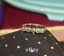Antique Or Jaune 14k 5 En Pierre. 56 Tcw Vieille Bague En Diamant De La Mine Sz 4,75 Importante
