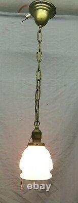 Antique Pendentif Plafond Luminaire Old Milk Glass Shade Vtg 398-19e