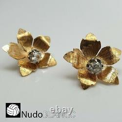 Antique Rare Dormeuses Fleurs Boucle D'oreille Or 18k Vieux Diamant Coupé Vis Arrière Stud