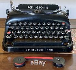 Antique Remington Rand 5 Portable Typewriter + Dur Carry Case Vieux Type Vintage