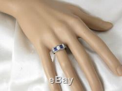 Antique Sapphire Diamond Ring Art Deco Platinum Domaine Vintage Retro Old Europea
