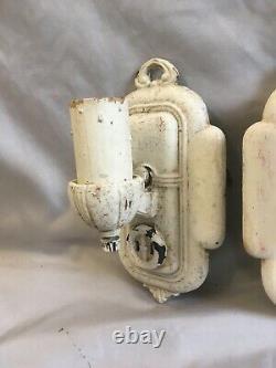 Antique Sconce Paire Cast Iron Wall Light Fixtures Old Vtg Art Nouveau 312-20e