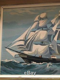Antique Uss Constitution Old American Frigate Navire De La Marine Paysage Marin Peinture À L'huile