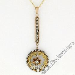 Antique Victorian Or 14k Old Cut Diamond Seed Pearl Collier Pendentif Lavaliere