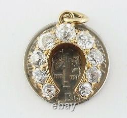 Antique Victorian Or 18k & 1.10ct Vieille Mine-cut Diamond Horseshoe Charm Vers 1900
