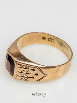 Antique Victorien Des Années 1870 3ct Old Cushion Cut Garnet 8k Yellow Gold Mens Band Ring