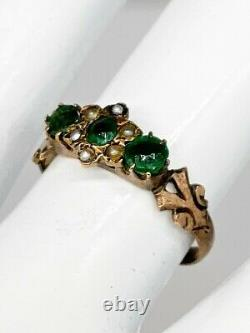 Antique Victorienne 1880s 1ct Old Euro Natural Emerald Pearl 14k Yellow Gold Ring