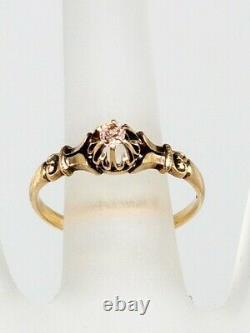 Antique Victorienne. 20ct Ancienne Mine Cut Véritable Bague En Or Jaune 14k Diamant Rose