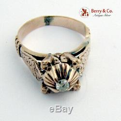 Antique Victorienne Ancienne Mine Cut Diamond Ring 14 K Or Rose