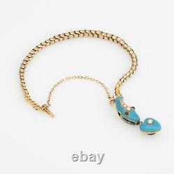 Antique Victorienne Snake Bracelet 18k Or Jaune Bleu Enamel Garnet Pearl Vieux