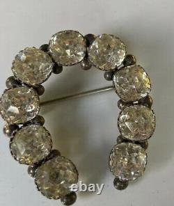 Antique Victorienne Sterling Silver Rare Vieille Mine Coupée En Pâte De Diamant Pinceau De Cheval