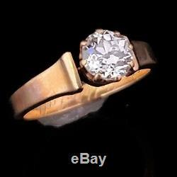 Antique Vieux Européenne Diamond Cut Engagement Bague Or Jaune Gravé 1887