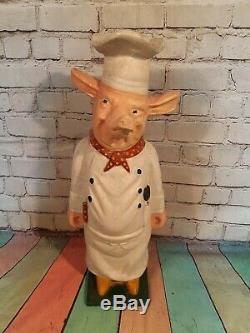 Antique Vintage Old Cast Iron Chef Bouchers Pig Boutique Fenêtre D'affichage Des Années 1950