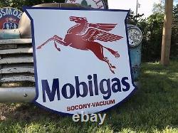 Antique Vintage Old Style 40 Mobilgas Bouclier Huile Moteur Mobil Signe Gaz