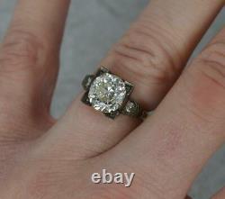 Antique Vs 3.36ct Ancien Diamant Coupé Et 18ct Bague De Fiançailles Solitaire Or