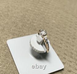 Antique Vtg -14k/18k Or Blanc Et Jaune Avec3 Old Mine Diamonds Wedding Ring Sz 4