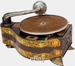 Antiquité Musique Ancienne Square Sound Box Gramophone Vintage Phonographe Ansbury Hb 023