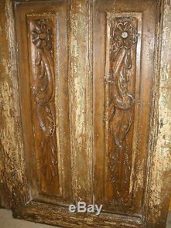 Antiquité Paire De Portes Anciennes Mexicaines Sculptées-vintage-primitive-rustic-wood-44x86 En