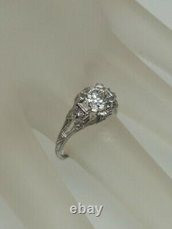 Antiquité Signée Années 1920 $10,000 1.50ct Old Euro Diamond Platinum Filigree Ring Rare