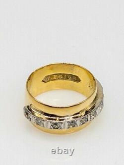 Antiquités 1920s 10mm 18k 18k Jaune Platinum. 75ct Anneau De Bande De Diamant Euros Euros 8g