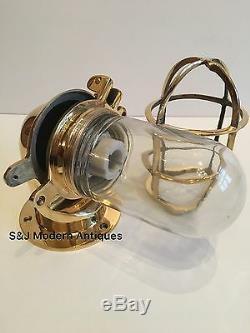 Applique Murale Industrielle Antique Vintage Cage Cloche En Laiton Navire Lampe Ancienne