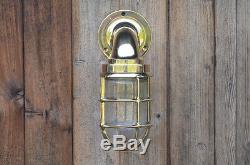 Applique Murale Nautique Vintage Retro Cage Cloison Vieux Laiton Navire Lampe Industriel
