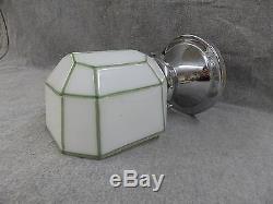 Applique Vtg En Laiton Chromé Laiton Verre Lait Verte Lines Art Deco Light 2230-16