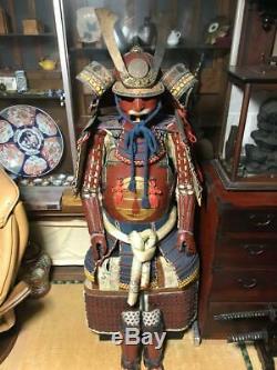 Armure Portable Traditionnelle Japonaise Vieux Fer De Samouraï De Haute Classe Rare 3e
