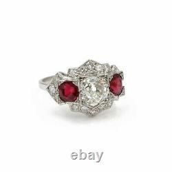 Art Déco Antique Platinum 3.2 Ctw Vieil Euro Diamond Rond Ruby Taille De La Bague 8 #e274