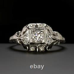 Art Déco Bague De Fiançailles Diamant Vieux Cut Européenne Vintage Antique Or Blanc
