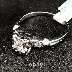 Art Déco Des Années 1930 Platinum Mine Cut Vieux Bague De Fiançailles Diamant Vintage Domaine