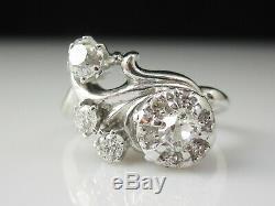 Art Deco Diamond Ring Flower Cluster Ancienne Mine En Or Blanc 14k Vintage Antique