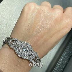 Art Deco Platinum 14k Or Blanc Vieux European Diamond Filigree Bracelet 6.75