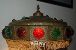 Art Nouveau Deco Antiquité Ancienne Arts Et Métiers En Verre Jeweled Lampe De Table Vintage