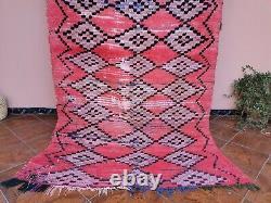 Authentique Rug Vintage Marocain Fait Main 4ft8x7ft4 Vieux Boujaad Rug Géométrique Rose