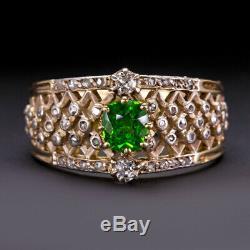 Bague À Diamant Avec Grenat Démantoïde Russe De Style Français Et 1900 Ancienne Coupe Ancienne De Mine