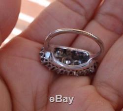 Bague À Diamants Antiques De Taille Ancienne Européenne 2 Ct, Plateau En Platine