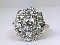 Bague À Diamants Taille Ancienne En Or Rose Massif 14k