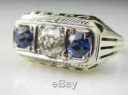 Bague À Trois Pierres En Saphir Bleu Ancien Avec Diamants Anciens 14k Vintage Art Deco