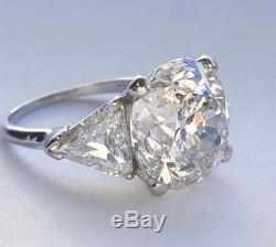 Bague Ancienne À Diamants Avec Diamants Taille Européenne, 11,84 Ct Et Platine