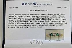 Bague Ancienne En Diamant De Taille Ancienne Et Émeraude 5, Pierre De Taille 7 En Or Et En Platine