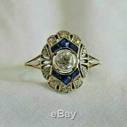 Bague Ancienne En Or Blanc Et Jaune 14k Avec Diamants Et Saphirs Taille Ancienne Mine Taille 8