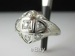 Bague Antique Diamant Or Blanc 18 Carats Ancienne Mine Cut Cluster Art Déco Domaine Vintage
