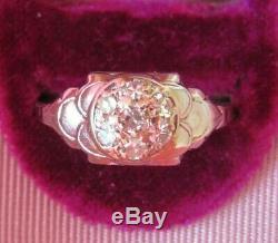 Bague De Fiançailles Ancienne En Argent 18 K Avec Antiquité Et Diamants Taillés Floraux Vintage Art Déco