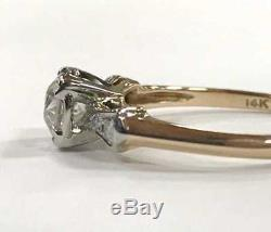 Bague De Fiançailles Ancienne / Vintage Avec Diamants, Taille Européenne, 0,59ct