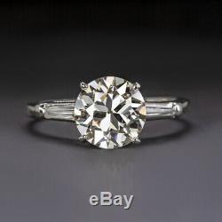 Bague De Fiançailles Avec Diamants 2 Ct Vintage J Vs1, Platine, Taille Ancienne, Baguettes Anciennes