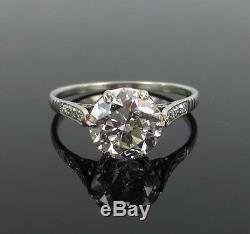 Bague De Fiançailles Avec Diamants Et Platine D'une Taille Exceptionnelle De 2,75, Taille Ancienne