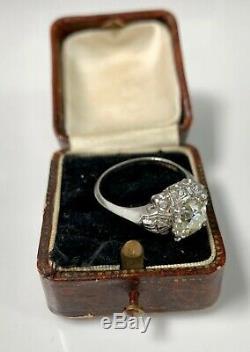 Bague De Fiançailles En Diamant Avec Diamants 2.29 Ctw Ancienne Coupe Art Mine Ancienne Platine