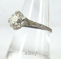 Bague De Fiançailles En Diamants Gia L-vs2, Ancienne Mine Edwardian De 2,50 Carats De Taille Ancienne Et Diamants Taillés À La Mine